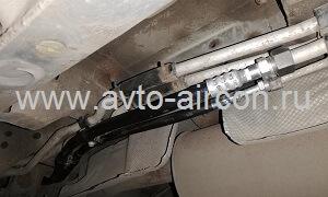 Замена алюминиевых трубок от заднего контура кондиционера на Ниссан Патфайндер резиновыми шлангами Goodyear высокого давления